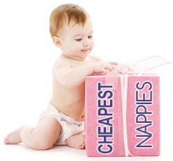 Baby with box of cheapest nappies