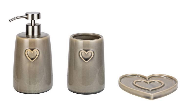 Bargain Argos Home Hearts Bathroom Accessory Set Grey
