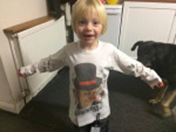 Selfie top with snowman design being modelled