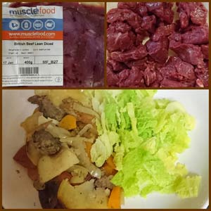 lean diced beef - before and after